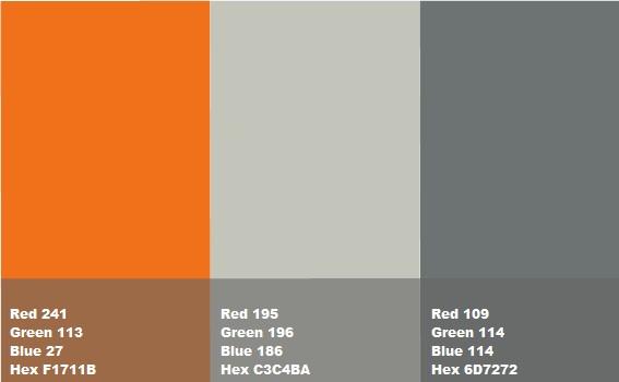 Pareti Cucina Beige : Arancione abbinato a due differenti tonalità di grigio