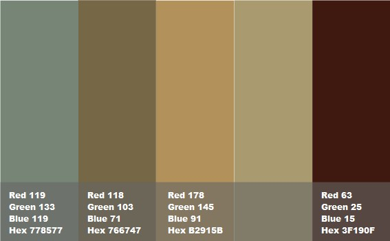 Colori Pareti Azzurro : Abbinamento marrone verde azzurro verde ocra grigio freddo