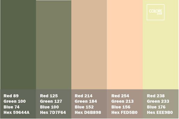 Abbinamento colori grigio verde rosa beige