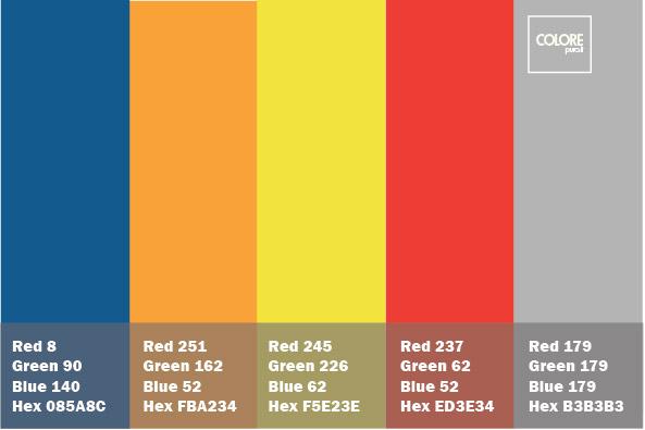 Tabella colori con abbinamenti di giallo, blu, arancione, giallo, rosso e grigio