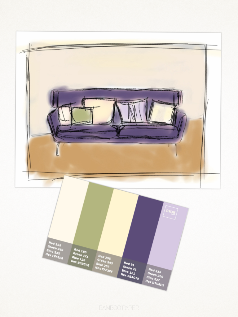Abbinamento colori divano blu viola glicine crema for Divano rosso abbinamenti
