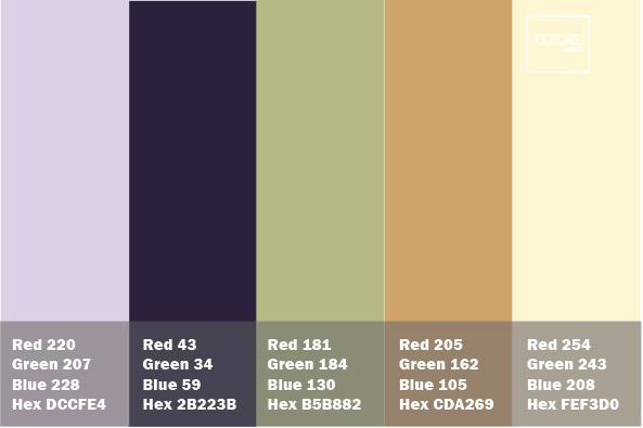 Tabella colori con abbinamenti di blu, viola, verde, marrone e crema