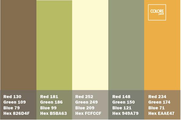 Abbinamento di colori verde, marrone, grigio, arancione