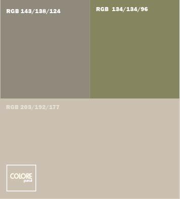 Abbinamento colore grigio chiaro con verde e grigio scuro