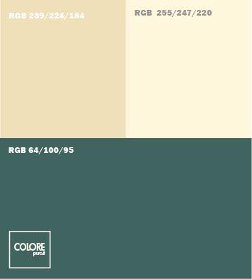 Abbinamento di colori verde, beige e crema
