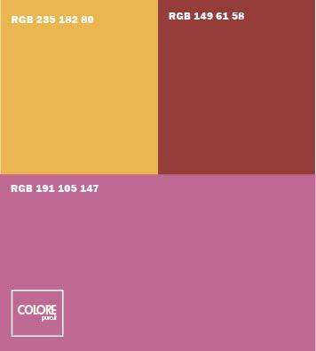 Abbinamento viola arancione rosso bordeaux
