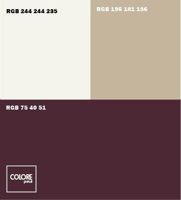 Abbinamento colori viola scuro beige bianco caldo