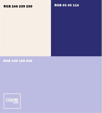 Abbinamento colori viola chiaro  blu scuro  bianco caldo