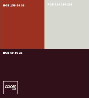 Abbinamento colori  viola melanzana scuro   grigio chiaro   rosso arancione scuro