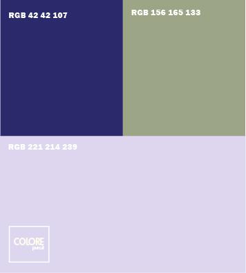 Abbinamento colori viola chiaro  blu   verde salvia