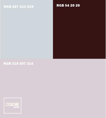 Abbinamento colori   grigio viola chiaro  azzuro chiaro  marrone scuro