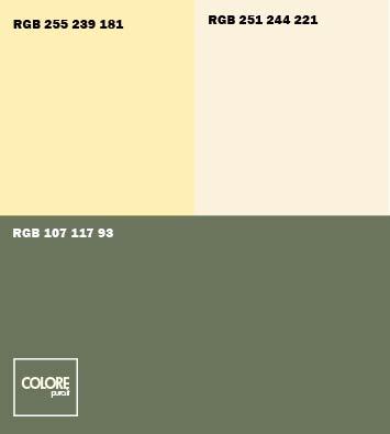 Abbinamento colori verde giallo crema grigio caldo
