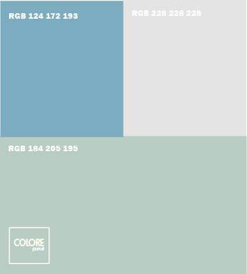 Abbinamento colori grigio freddo bianco freddo azzurro