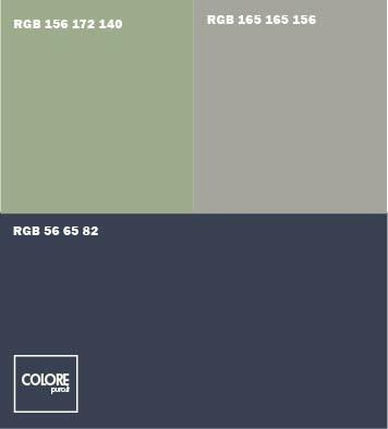 Abbinamento colori blu scuro grigio chiaro  verde chiaro