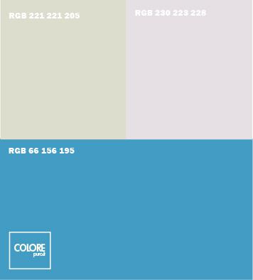 Abbinamento colori azzurro, grigio chiaro, grigio freddo