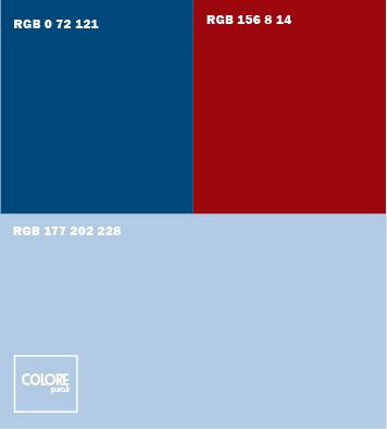 Abbinamento colori azzurro, blu scuro, rosso scuro