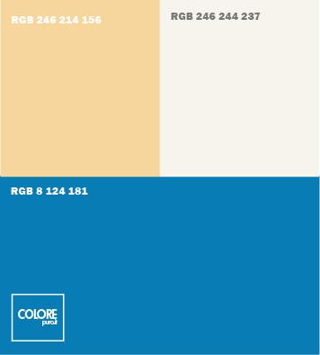 Abbinamento colori blu, arancione chiaro, bianco caldo