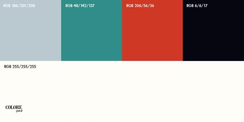 Abbinamento  numero 144, composto da cinque colori: bianco, grigio chiaro, verde tendente al turchese, rosso e nero.