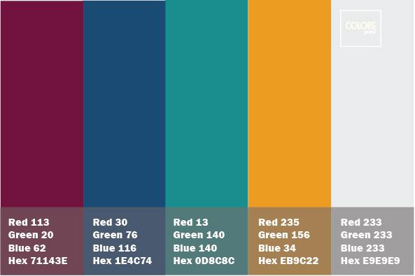 abbinamento viola blu turchese arancio grigio