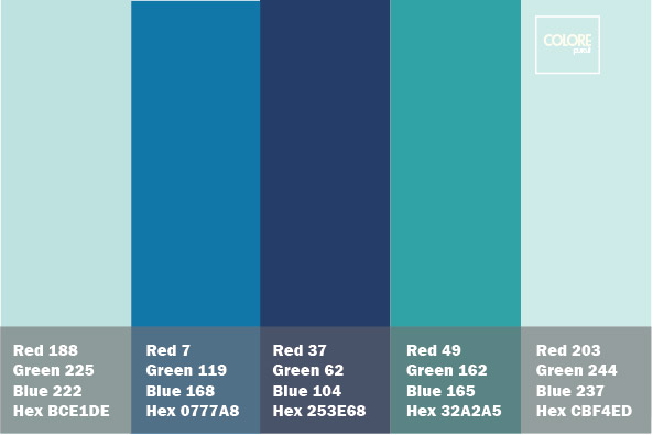 azzurro, blue e turchese