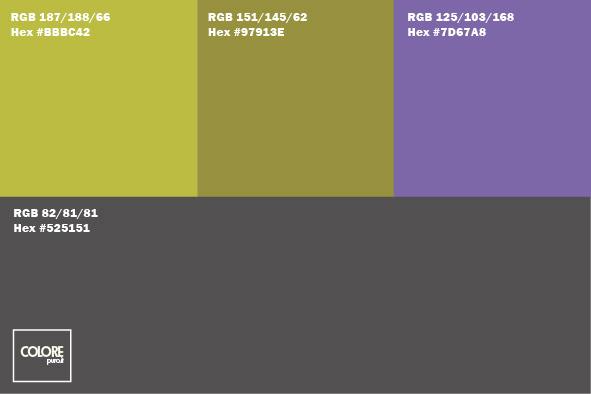 Tabella 4 colori con grigio, verde, viola