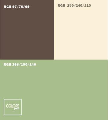 Abbinamento colore verde con marrone e beige