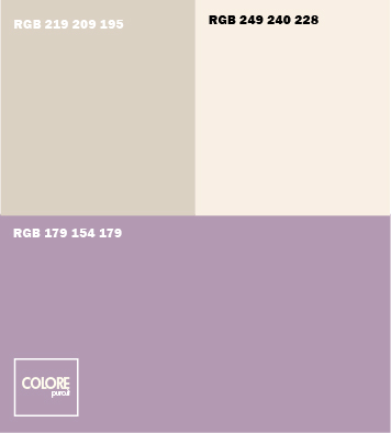 Abbinamento colori viola chiaro   bianco caldo   grigio chiaro caldo