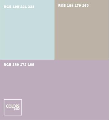 Abbinamento colori viola chiaro  marrone chiaro  azzurro