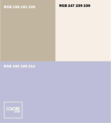 Abbinamento colori viola chiaro  bianco caldo  grigio caldo beige