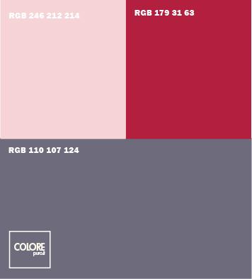 Abbinamento colori grigio scuro   rosa   rosso