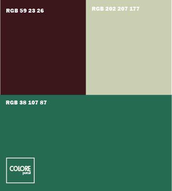 Abbinamento colori verde turchese marrone grigio