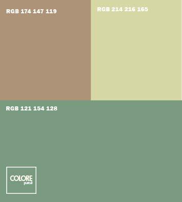 Abbinamento colori  verde chiaro marrone chiaro grigio verde