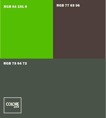 Abbinamento colori   verde petrolio   verde brillante  marrone scuro