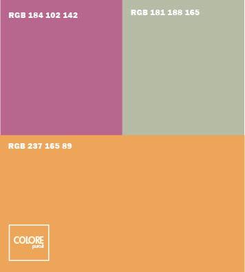 Abbinamento colori arancione chiaro grigio viola chiaro