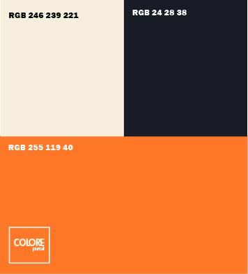 Abbinamento colori arancione  bianco caldo  nero