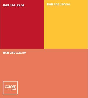 Abbinamento colori rosso arancione rosso scuro arancione