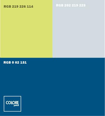 Abbinamento blu giallo-verde azzurro