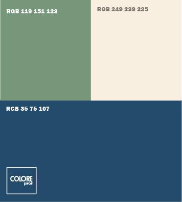 Abbinamento colori blu, verde salvia scuro, bianco caldo