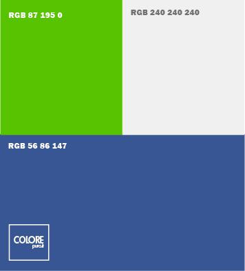 Abbinamento colori blu, verde prato, bianco freddo