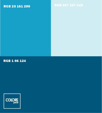 Abbinamento colori blu, azzurro, azzurro chiaro