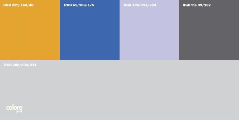 Abbinamento colori grigio chiaro arancione blu viola grigio medio